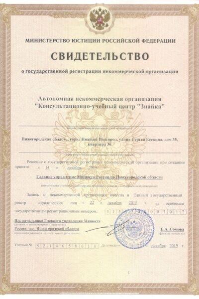 Свидетельство о госрегистрации НКО
